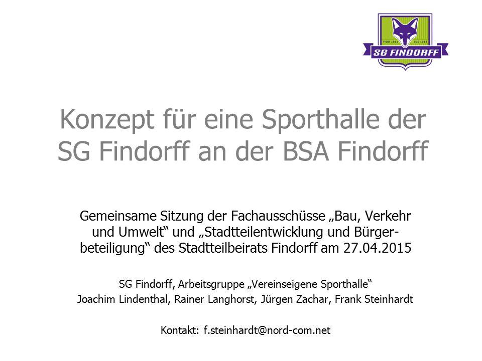 """Konzept für eine Sporthalle der SG Findorff an der BSA Findorff Gemeinsame Sitzung der Fachausschüsse """"Bau, Verkehr und Umwelt"""" und """"Stadtteilentwickl"""