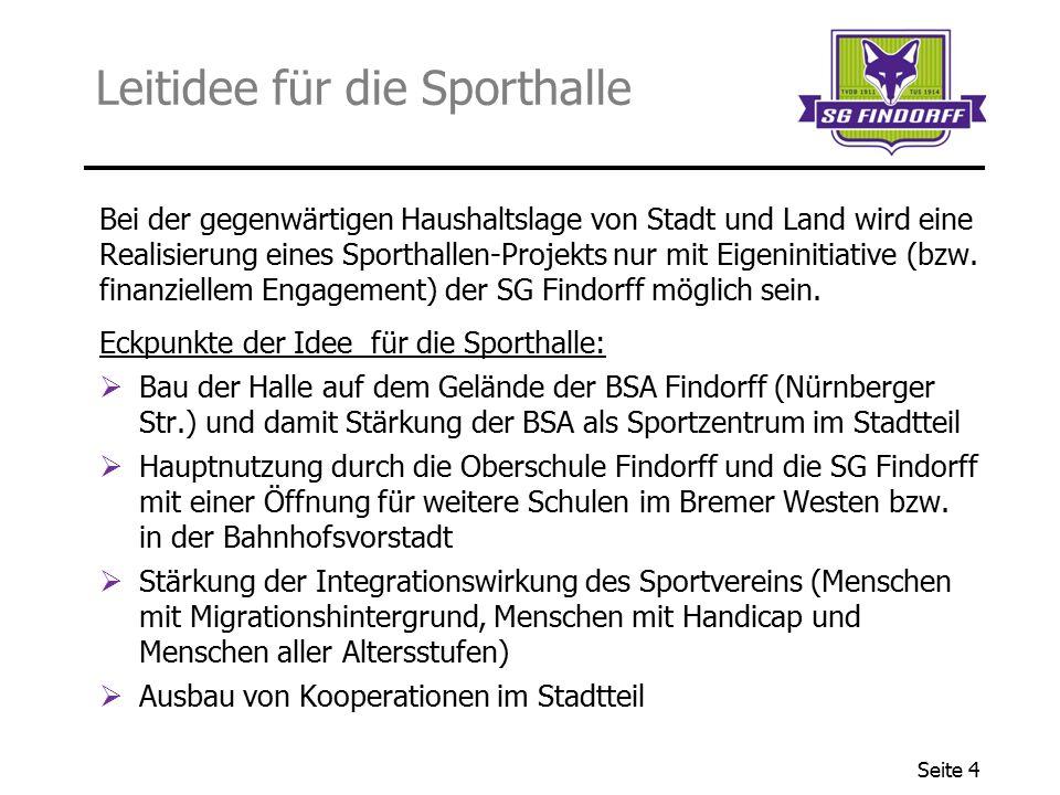 Seite 4 Leitidee für die Sporthalle Bei der gegenwärtigen Haushaltslage von Stadt und Land wird eine Realisierung eines Sporthallen-Projekts nur mit E