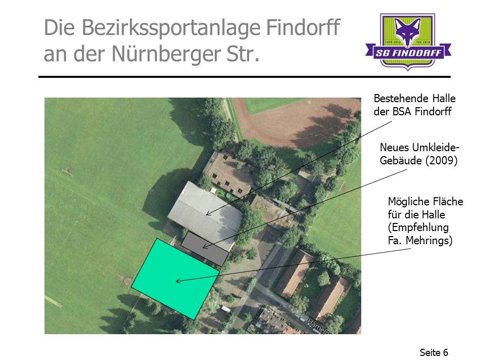 Seite 6 Die Bezirkssportanlage Findorff an der Nürnberger Str. Neues Umkleide- Gebäude (2009) Mögliche Fläche für die Halle (Empfehlung Fa. Mehrings)