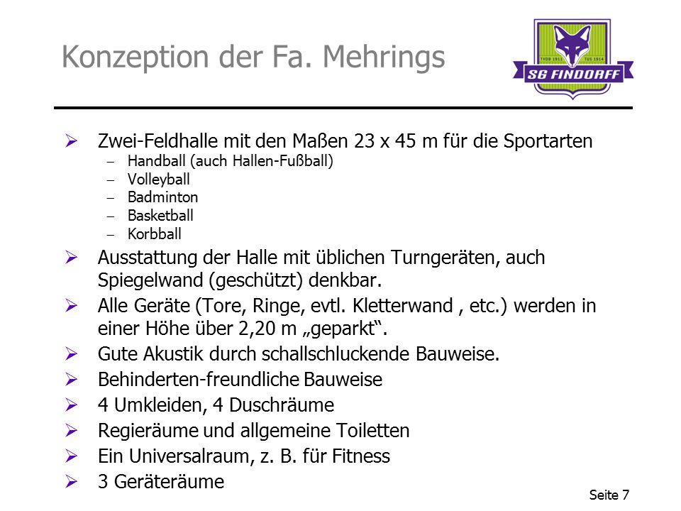 Seite 7 Konzeption der Fa. Mehrings  Zwei-Feldhalle mit den Maßen 23 x 45 m für die Sportarten  Handball (auch Hallen-Fußball)  Volleyball  Badmin