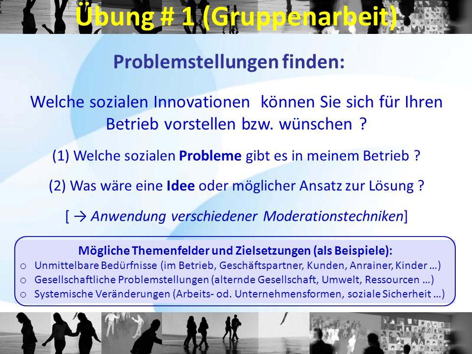 Problemstellungen finden: Welche sozialen Innovationen können Sie sich für Ihren Betrieb vorstellen bzw. wünschen ? (1) Welche sozialen Probleme gibt