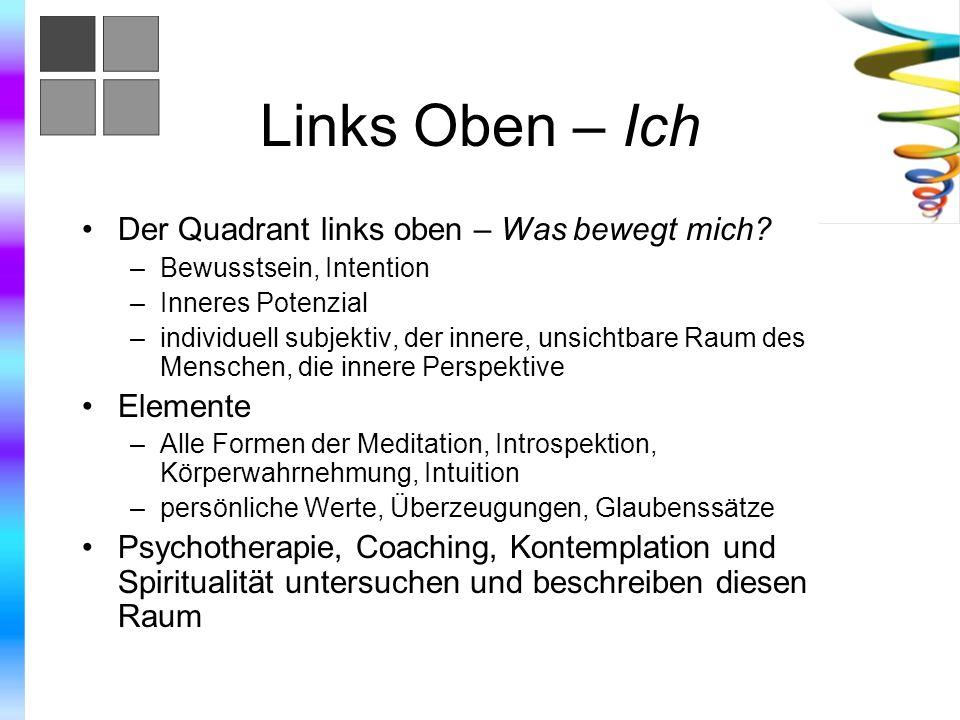 Links Oben – Ich Der Quadrant links oben – Was bewegt mich? –Bewusstsein, Intention –Inneres Potenzial –individuell subjektiv, der innere, unsichtbare