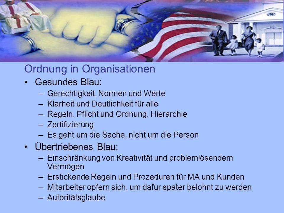 Ordnung in Organisationen Gesundes Blau: –Gerechtigkeit, Normen und Werte –Klarheit und Deutlichkeit für alle –Regeln, Pflicht und Ordnung, Hierarchie