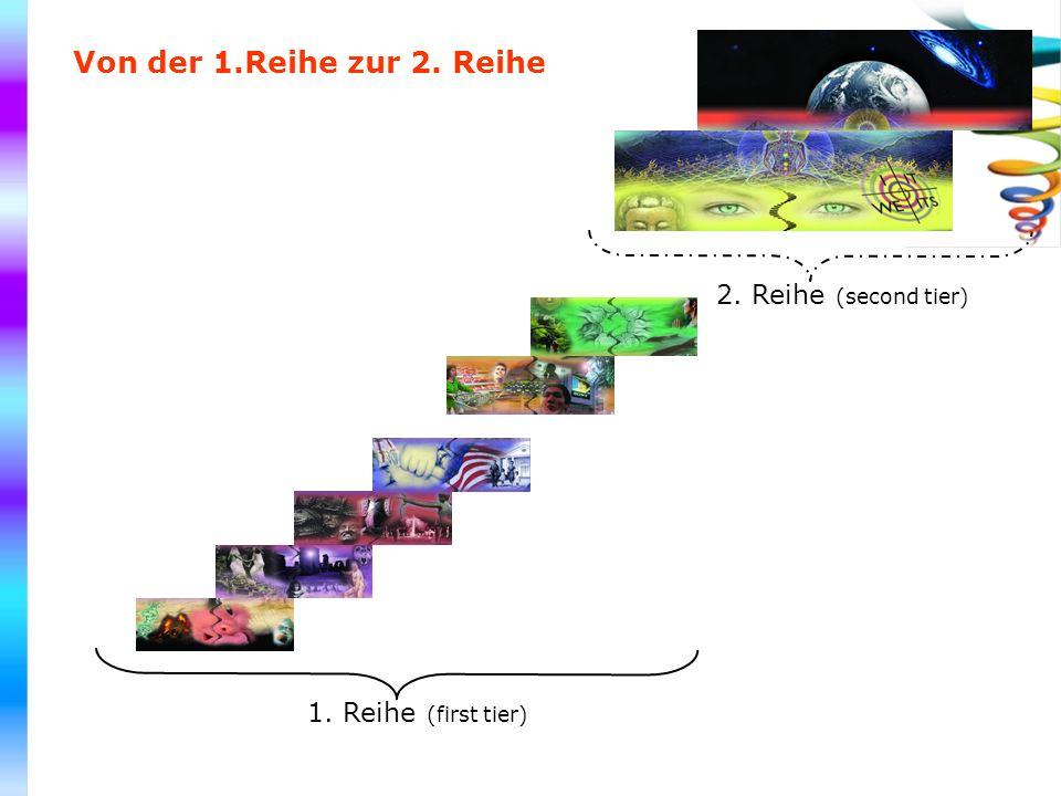 1. Reihe (first tier) 2. Reihe (second tier) Von der 1.Reihe zur 2. Reihe