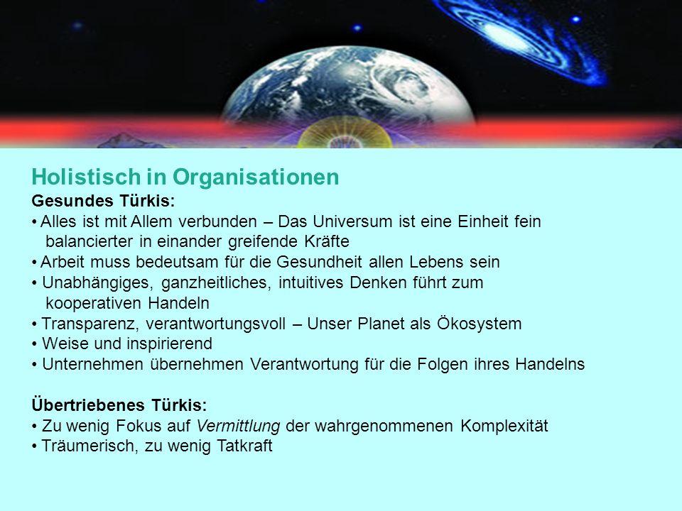 Holistisch in Organisationen Gesundes Türkis: Alles ist mit Allem verbunden – Das Universum ist eine Einheit fein balancierter in einander greifende K