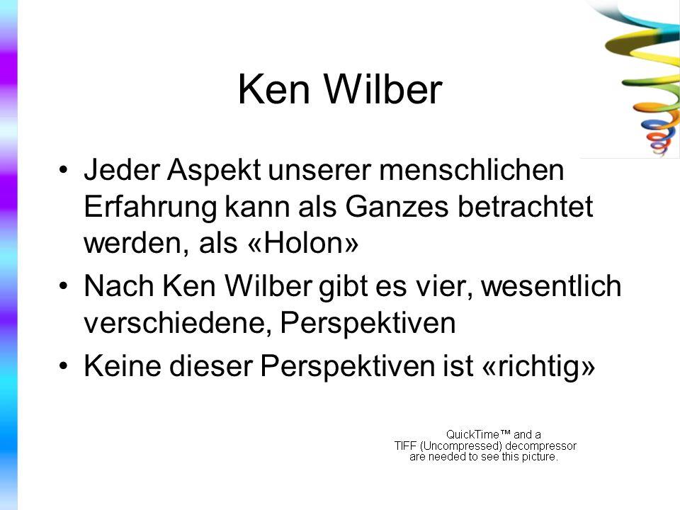 Ken Wilber Jeder Aspekt unserer menschlichen Erfahrung kann als Ganzes betrachtet werden, als «Holon» Nach Ken Wilber gibt es vier, wesentlich verschi