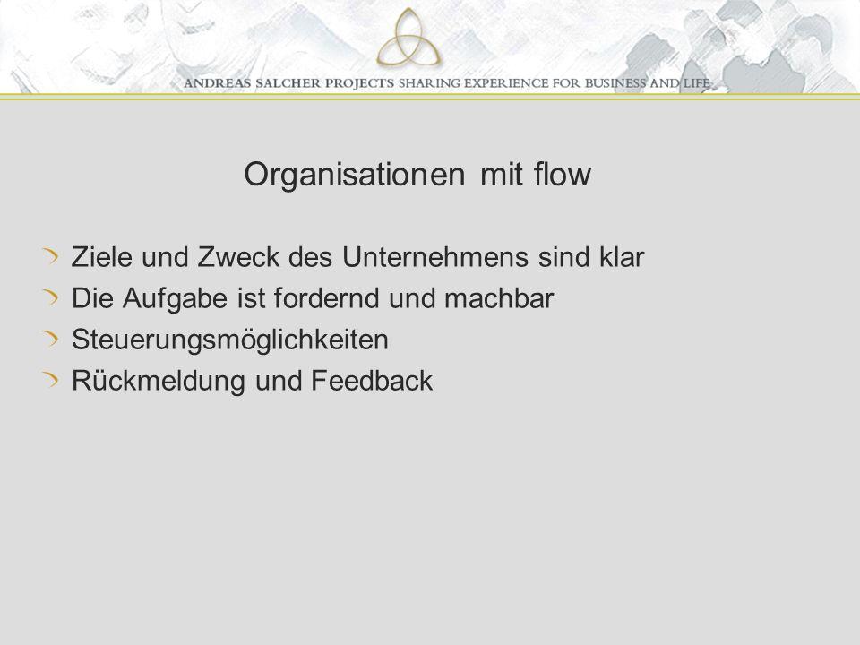 Organisationen mit flow Ziele und Zweck des Unternehmens sind klar Die Aufgabe ist fordernd und machbar Steuerungsmöglichkeiten Rückmeldung und Feedback