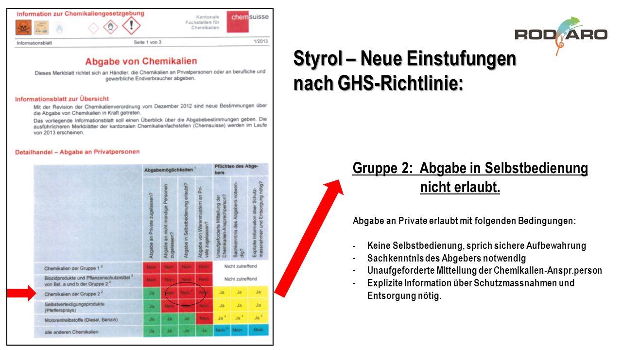 Styrol – Neue Einstufungen nach GHS-Richtlinie: Gruppe 2: Abgabe in Selbstbedienung nicht erlaubt. Abgabe an Private erlaubt mit folgenden Bedingungen