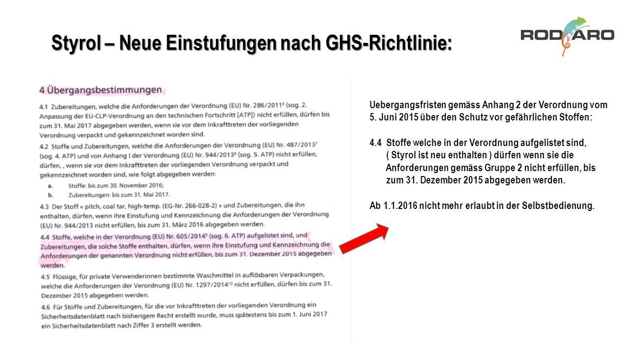 Styrol – Neue Einstufungen nach GHS-Richtlinie: Uebergangsfristen gemäss Anhang 2 der Verordnung vom 5. Juni 2015 über den Schutz vor gefährlichen Sto