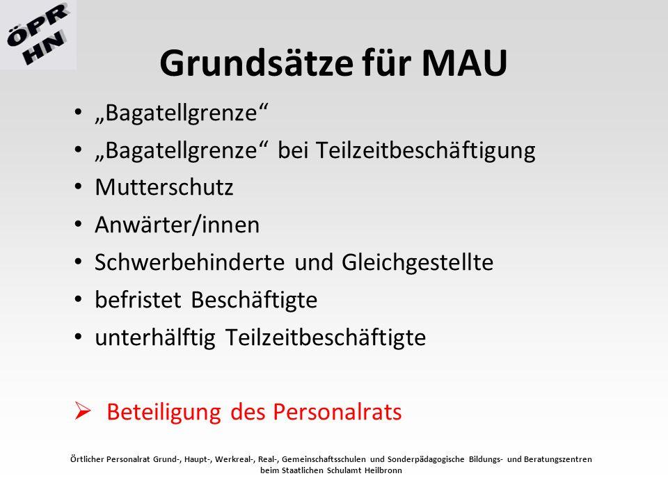 """Grundsätze für MAU """"Bagatellgrenze """"Bagatellgrenze bei Teilzeitbeschäftigung Mutterschutz Anwärter/innen Schwerbehinderte und Gleichgestellte befristet Beschäftigte unterhälftig Teilzeitbeschäftigte  Beteiligung des Personalrats Örtlicher Personalrat Grund-, Haupt-, Werkreal-, Real-, Gemeinschaftsschulen und Sonderpädagogische Bildungs- und Beratungszentren beim Staatlichen Schulamt Heilbronn"""