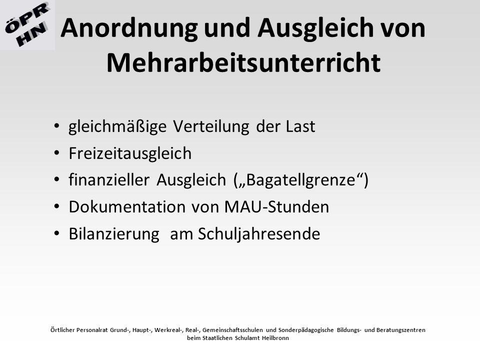 Mitbestimmungsrechte nicht vorhersehbarer Mehrarbeitsunterricht vorhersehbarer Mehrarbeitsunterricht Mehrarbeitsunterricht bei einer Dauer von drei Wochen oder länger  schulinternes Konzept (GLK – ÖPR) Örtlicher Personalrat Grund-, Haupt-, Werkreal-, Real-, Gemeinschaftsschulen und Sonderpädagogische Bildungs- und Beratungszentren beim Staatlichen Schulamt Heilbronn
