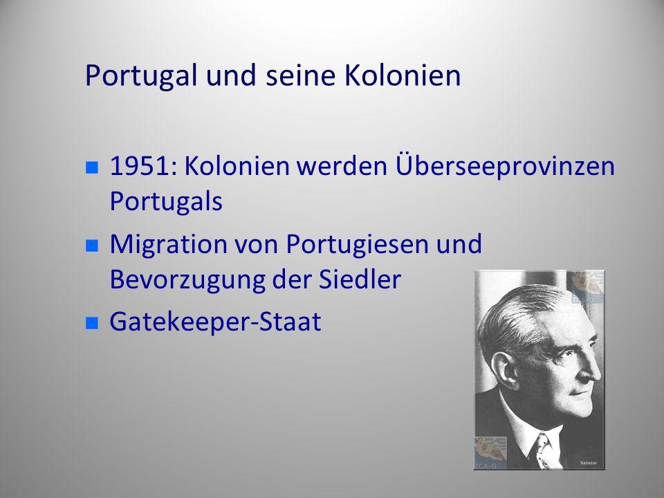 Portugal und seine Kolonien 1951: Kolonien werden Überseeprovinzen Portugals Migration von Portugiesen und Bevorzugung der Siedler Gatekeeper-Staat