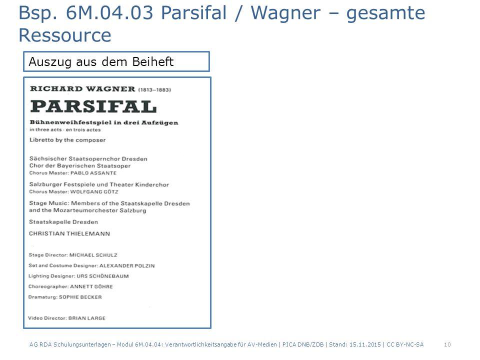 Bsp. 6M.04.03 Parsifal / Wagner – gesamte Ressource AG RDA Schulungsunterlagen – Modul 6M.04.04: Verantwortlichkeitsangabe für AV-Medien | PICA DNB/ZD