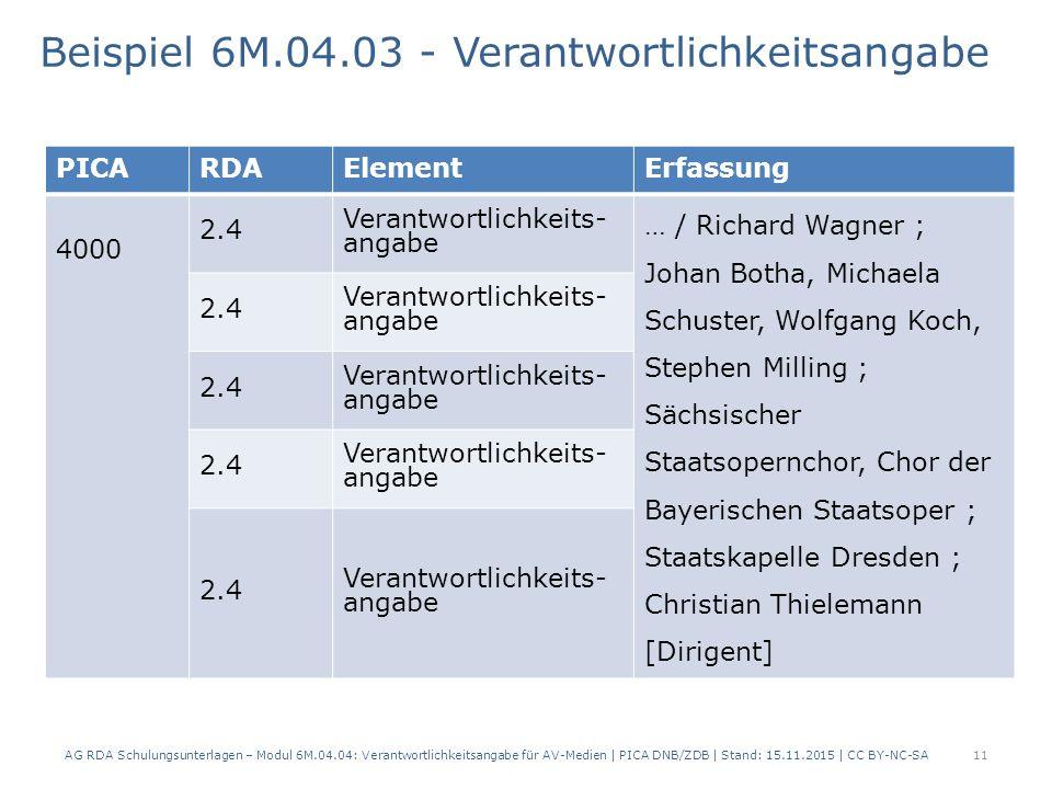 11 PICARDAElementErfassung 4000 2.4 Verantwortlichkeits- angabe … / Richard Wagner ; Johan Botha, Michaela Schuster, Wolfgang Koch, Stephen Milling ; Sächsischer Staatsopernchor, Chor der Bayerischen Staatsoper ; Staatskapelle Dresden ; Christian Thielemann [Dirigent] 2.4 Verantwortlichkeits- angabe 2.4 Verantwortlichkeits- angabe 2.4 Verantwortlichkeits- angabe 2.4 Verantwortlichkeits- angabe Beispiel 6M.04.03 - Verantwortlichkeitsangabe AG RDA Schulungsunterlagen – Modul 6M.04.04: Verantwortlichkeitsangabe für AV-Medien | PICA DNB/ZDB | Stand: 15.11.2015 | CC BY-NC-SA