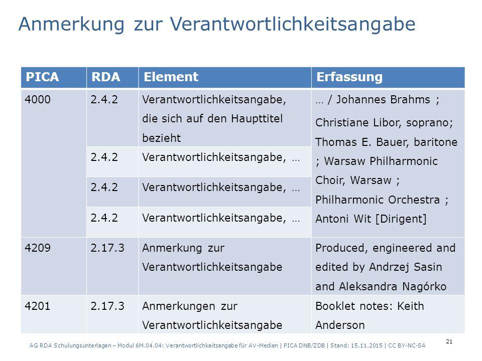 21 PICARDAElementErfassung 40002.4.2 Verantwortlichkeitsangabe, die sich auf den Haupttitel bezieht … / Johannes Brahms ; Christiane Libor, soprano; Thomas E.