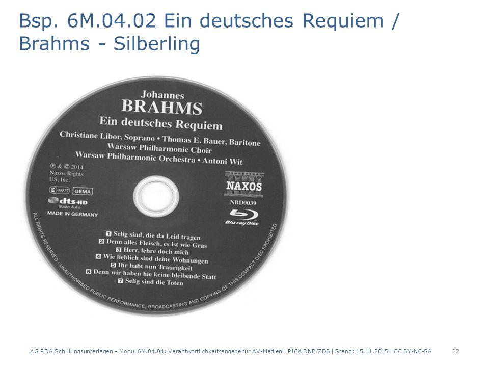 Titel und Personen Bsp. 6M.04.02 Ein deutsches Requiem / Brahms - Silberling 22