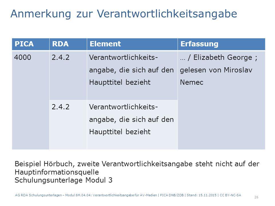 PICARDAElementErfassung 40002.4.2 Verantwortlichkeits- angabe, die sich auf den Haupttitel bezieht … / Elizabeth George ; gelesen von Miroslav Nemec 2.4.2Verantwortlichkeits- angabe, die sich auf den Haupttitel bezieht Anmerkung zur Verantwortlichkeitsangabe AG RDA Schulungsunterlagen – Modul 6M.04.04: Verantwortlichkeitsangabe für AV-Medien | PICA DNB/ZDB | Stand: 15.11.2015 | CC BY-NC-SA Beispiel Hörbuch, zweite Verantwortlichkeitsangabe steht nicht auf der Hauptinformationsquelle Schulungsunterlage Modul 3 26