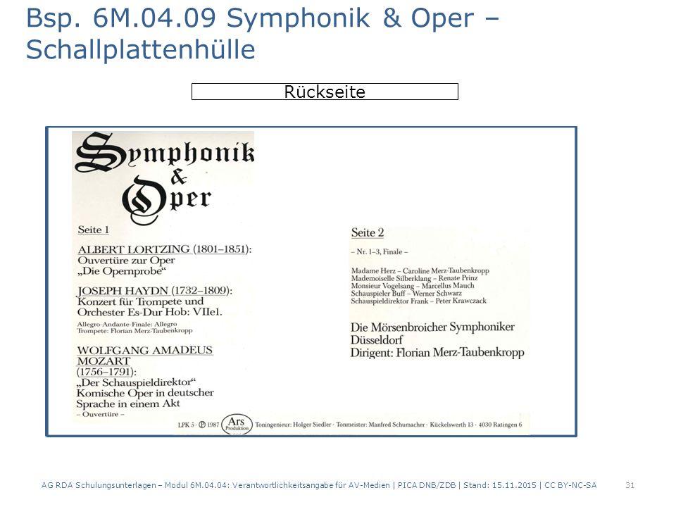 Bsp. 6M.04.09 Symphonik & Oper – Schallplattenhülle AG RDA Schulungsunterlagen – Modul 6M.04.04: Verantwortlichkeitsangabe für AV-Medien | PICA DNB/ZD