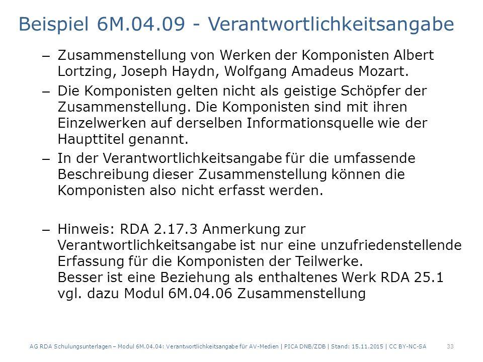 Beispiel 6M.04.09 - Verantwortlichkeitsangabe – Zusammenstellung von Werken der Komponisten Albert Lortzing, Joseph Haydn, Wolfgang Amadeus Mozart.