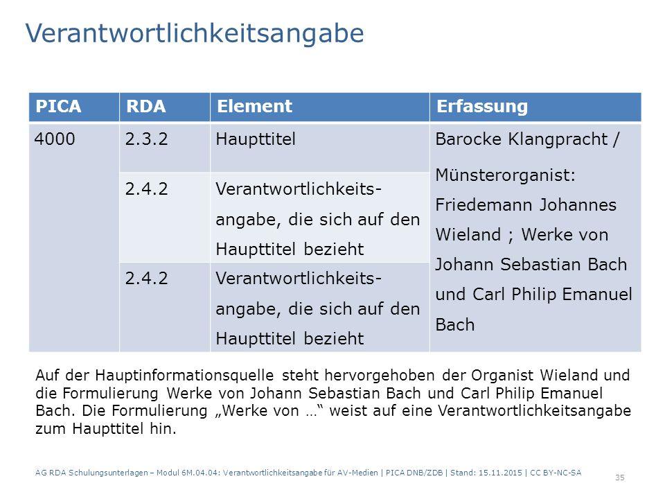 PICARDAElementErfassung 40002.3.2Haupttitel Barocke Klangpracht / Münsterorganist: Friedemann Johannes Wieland ; Werke von Johann Sebastian Bach und Carl Philip Emanuel Bach 2.4.2 Verantwortlichkeits- angabe, die sich auf den Haupttitel bezieht 2.4.2Verantwortlichkeits- angabe, die sich auf den Haupttitel bezieht Verantwortlichkeitsangabe Auf der Hauptinformationsquelle steht hervorgehoben der Organist Wieland und die Formulierung Werke von Johann Sebastian Bach und Carl Philip Emanuel Bach.