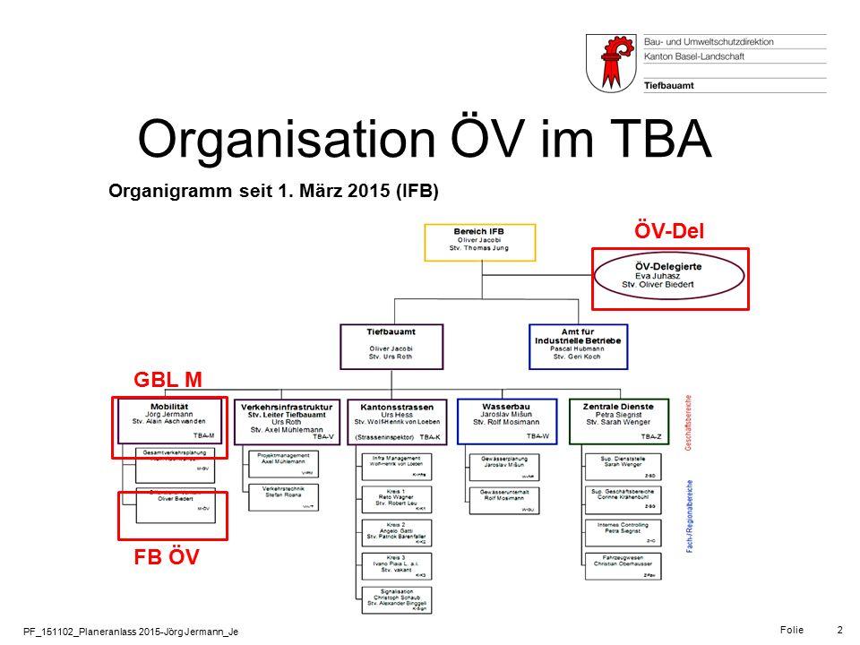 PF_151102_Planeranlass 2015-Jörg Jermann_Je Folie 2 Organisation ÖV im TBA Organigramm seit 1. März 2015 (IFB) ÖV-Del GBL M FB ÖV