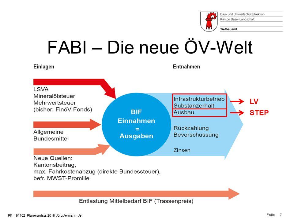 PF_151102_Planeranlass 2015-Jörg Jermann_Je Folie 8 FABI – Die neuen Instrumente Leistungsvereinbarung LV Ausbauschritte STEP -Werden 4-jährlich direkt zwischen Bund und Transport-Unternehmung abgeschlossen (wie bisher) -Beinhalten Leistungen zu Betrieb und Erhalt der Infrastruktur (nicht Ausbau!) -Kantone sind bei LV nicht mehr direkt betroffen -Werden in 5-Jahresschritten von den Planungsregionen (Kantone) beim Bund eingereicht.