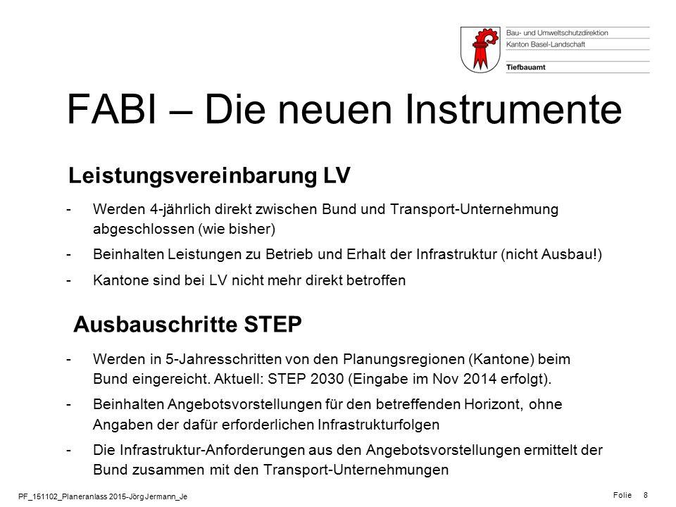 PF_151102_Planeranlass 2015-Jörg Jermann_Je Folie 8 FABI – Die neuen Instrumente Leistungsvereinbarung LV Ausbauschritte STEP -Werden 4-jährlich direk