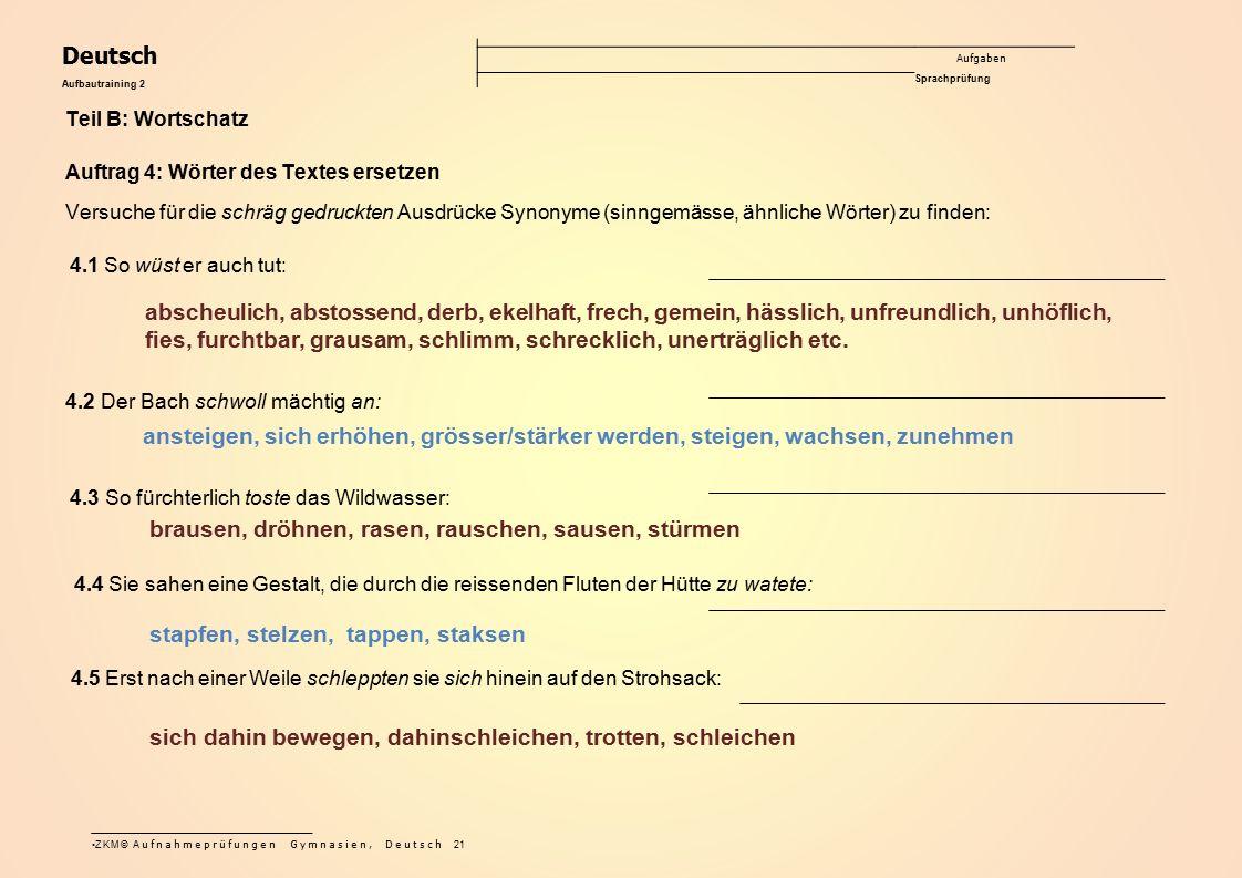 Deutsch Aufgaben Sprachprüfung Aufbautraining 2 Teil B: Wortschatz Auftrag 4: Wörter des Textes ersetzen Versuche für die schräg gedruckten Ausdrücke