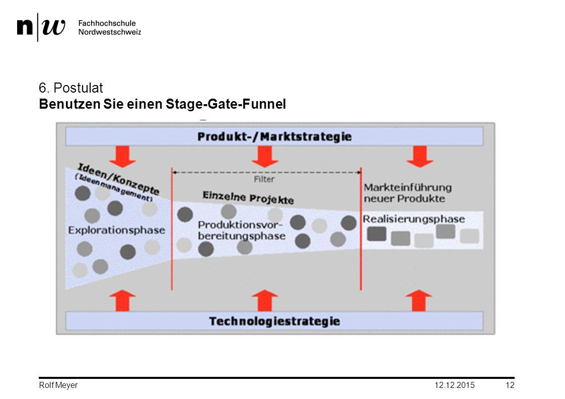 6. Postulat Benutzen Sie einen Stage-Gate-Funnel 12.12.2015 12 Rolf Meyer