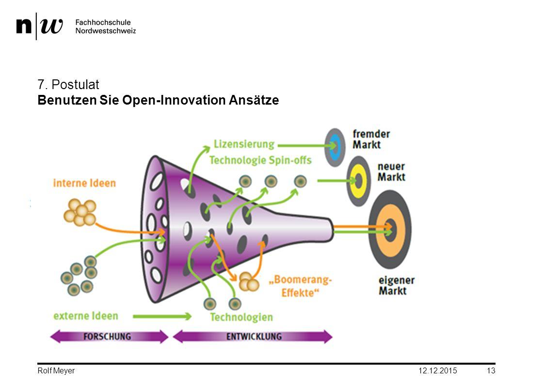 7. Postulat Benutzen Sie Open-Innovation Ansätze 12.12.2015 13 Rolf Meyer