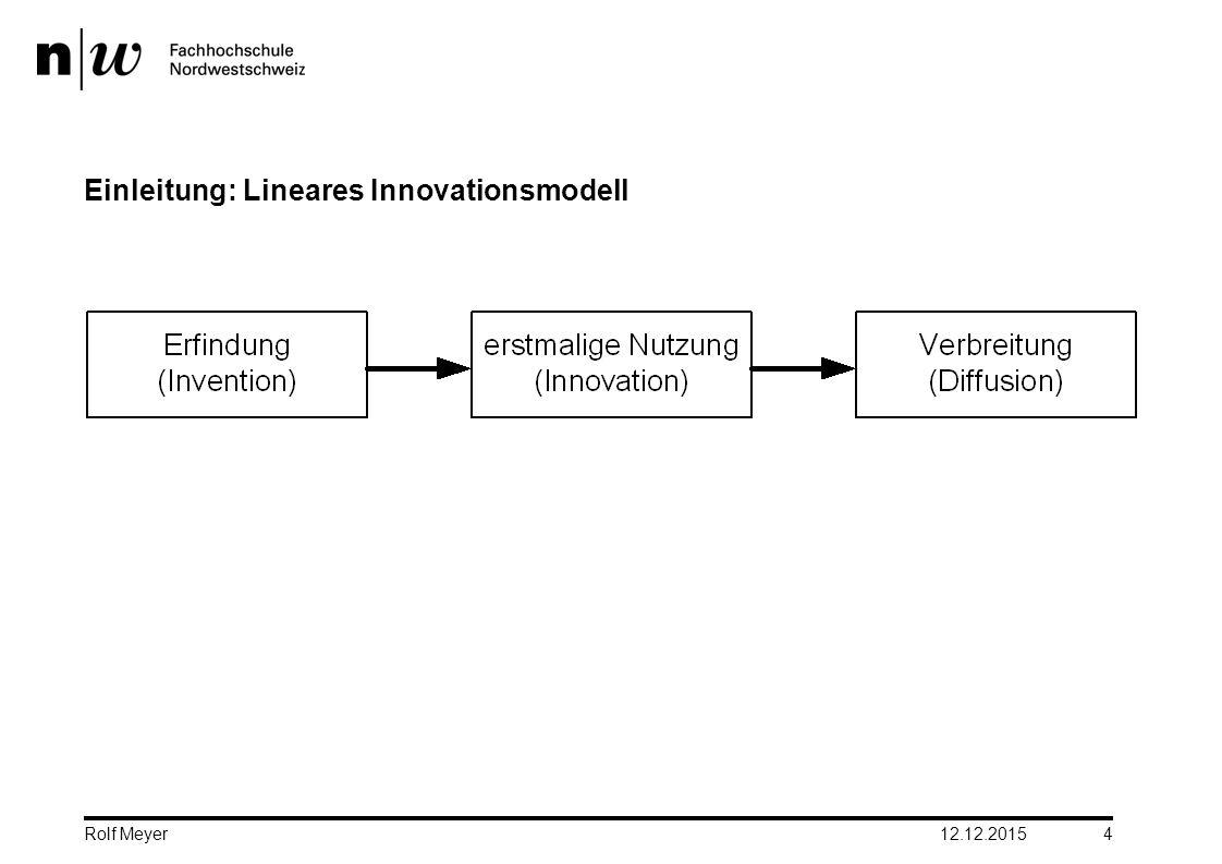 Einleitung: Lineares Innovationsmodell 12.12.2015 4 Rolf Meyer