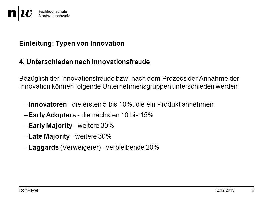 Einleitung: Typen von Innovation 4. Unterschieden nach Innovationsfreude Bezüglich der Innovationsfreude bzw. nach dem Prozess der Annahme der Innovat