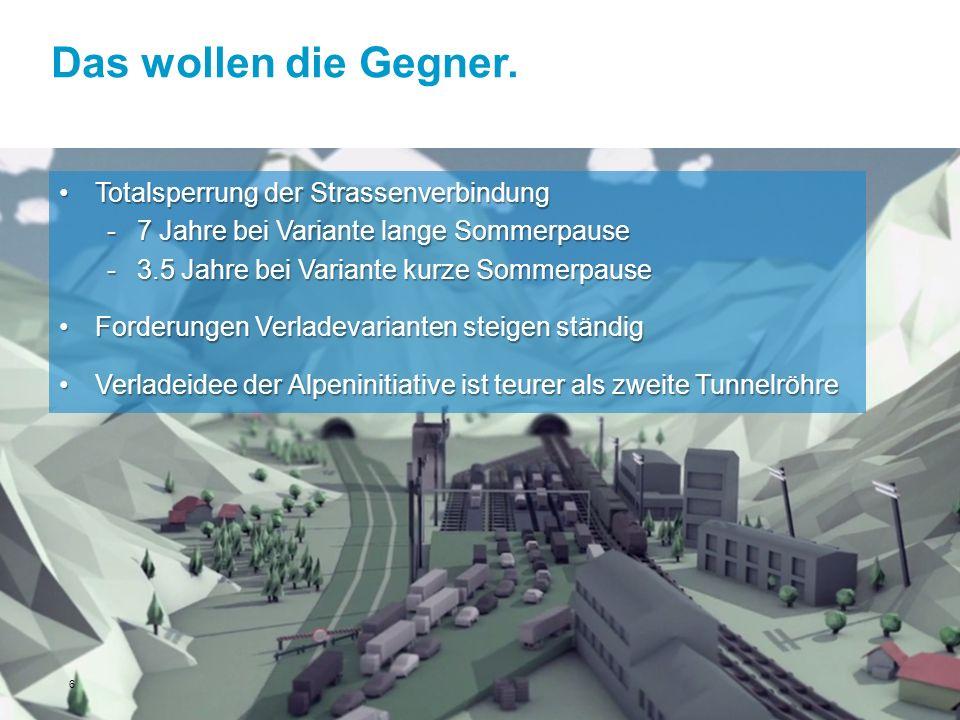Das wollen die Gegner. Totalsperrung der StrassenverbindungTotalsperrung der Strassenverbindung -7 Jahre bei Variante lange Sommerpause -3.5 Jahre bei