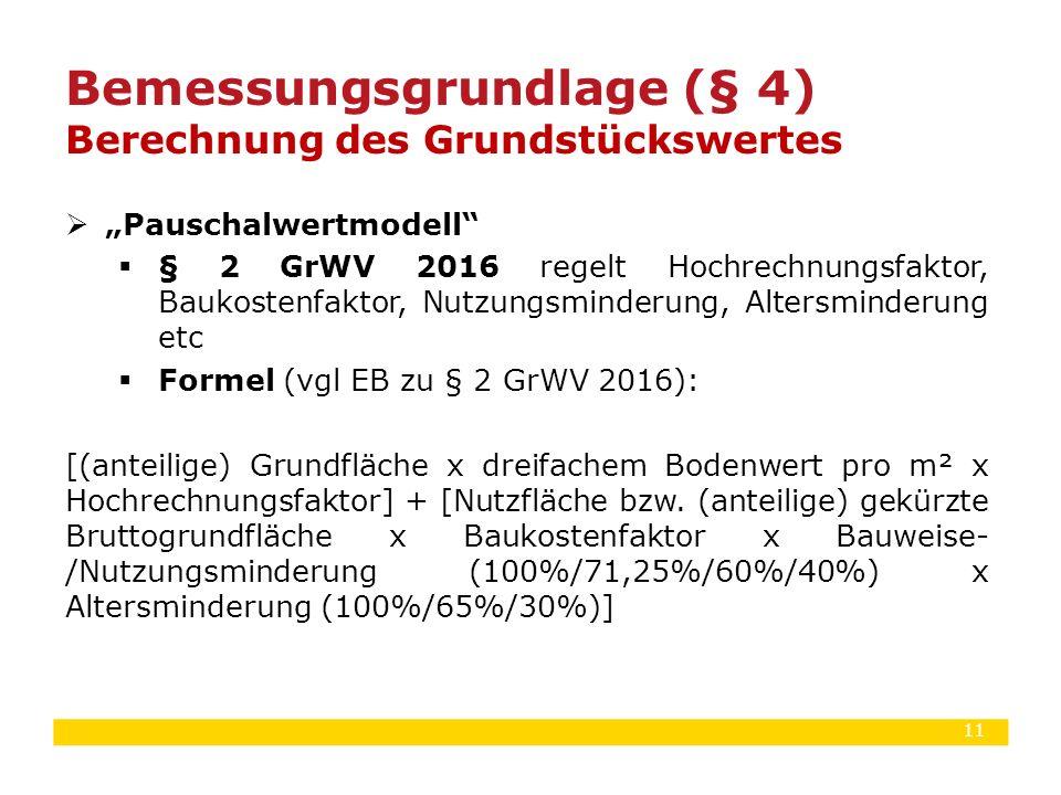 """11  """"Pauschalwertmodell""""  § 2 GrWV 2016 regelt Hochrechnungsfaktor, Baukostenfaktor, Nutzungsminderung, Altersminderung etc  Formel (vgl EB zu § 2"""