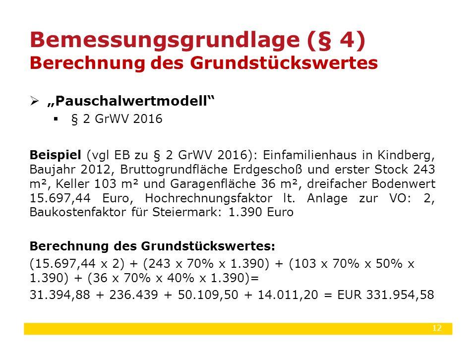 """12  """"Pauschalwertmodell""""  § 2 GrWV 2016 Beispiel (vgl EB zu § 2 GrWV 2016): Einfamilienhaus in Kindberg, Baujahr 2012, Bruttogrundfläche Erdgeschoß"""