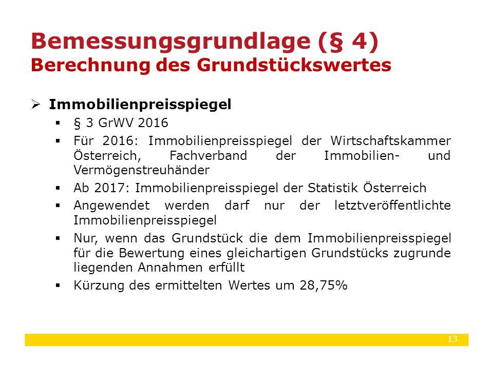 13  Immobilienpreisspiegel  § 3 GrWV 2016  Für 2016: Immobilienpreisspiegel der Wirtschaftskammer Österreich, Fachverband der Immobilien- und Vermö