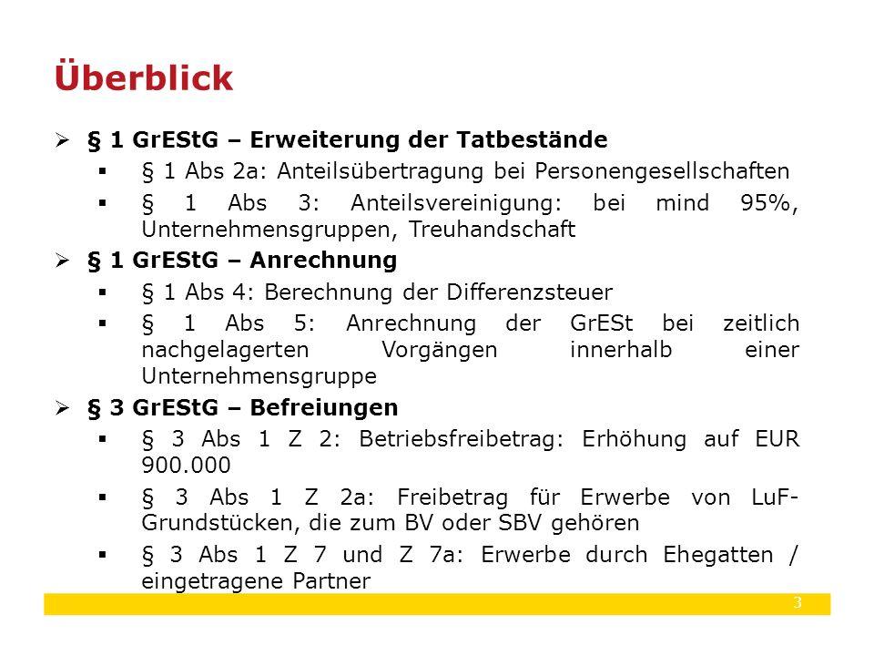3  § 1 GrEStG – Erweiterung der Tatbestände  § 1 Abs 2a: Anteilsübertragung bei Personengesellschaften  § 1 Abs 3: Anteilsvereinigung: bei mind 95%