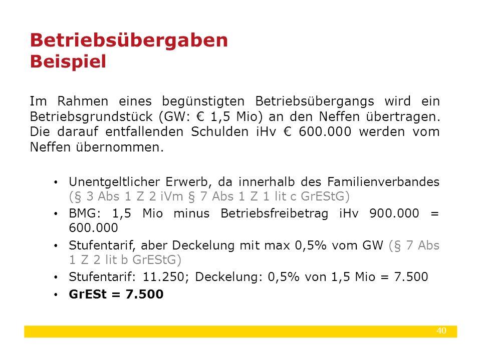 40 Im Rahmen eines begünstigten Betriebsübergangs wird ein Betriebsgrundstück (GW: € 1,5 Mio) an den Neffen übertragen. Die darauf entfallenden Schuld
