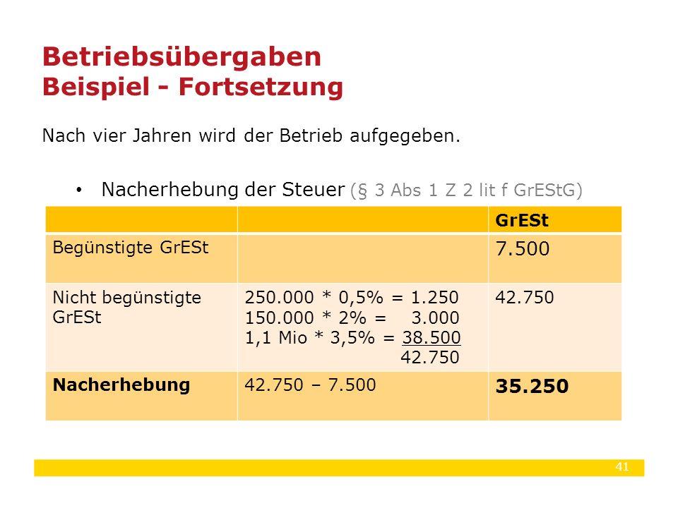 41 Nach vier Jahren wird der Betrieb aufgegeben. Nacherhebung der Steuer (§ 3 Abs 1 Z 2 lit f GrEStG) Betriebsübergaben Beispiel - Fortsetzung GrESt B