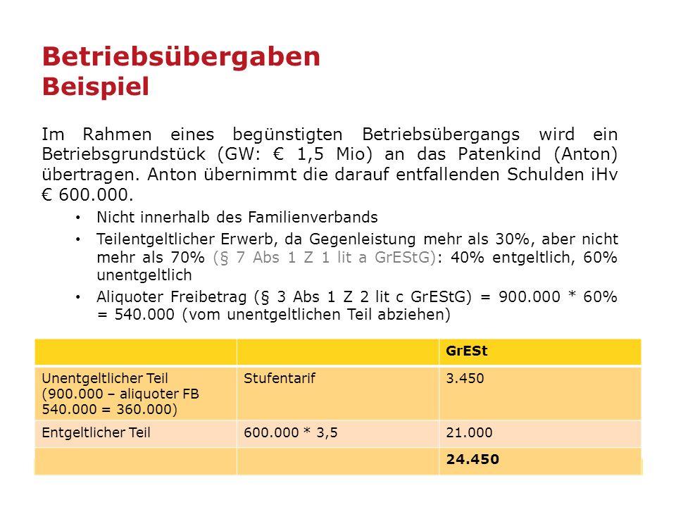 42 Im Rahmen eines begünstigten Betriebsübergangs wird ein Betriebsgrundstück (GW: € 1,5 Mio) an das Patenkind (Anton) übertragen. Anton übernimmt die