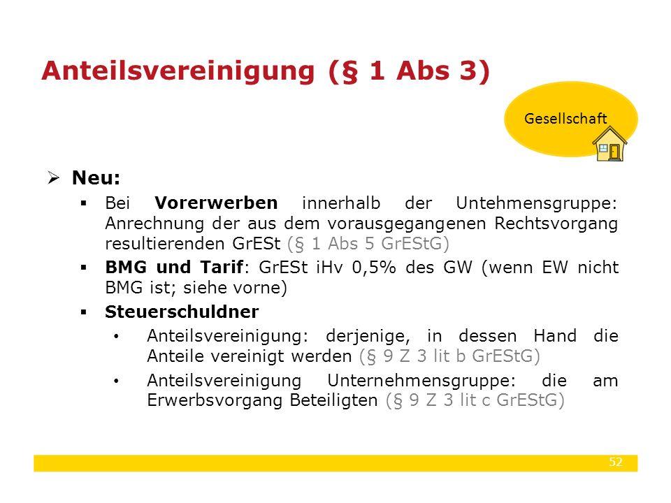 52  Neu:  Bei Vorerwerben innerhalb der Untehmensgruppe: Anrechnung der aus dem vorausgegangenen Rechtsvorgang resultierenden GrESt (§ 1 Abs 5 GrESt