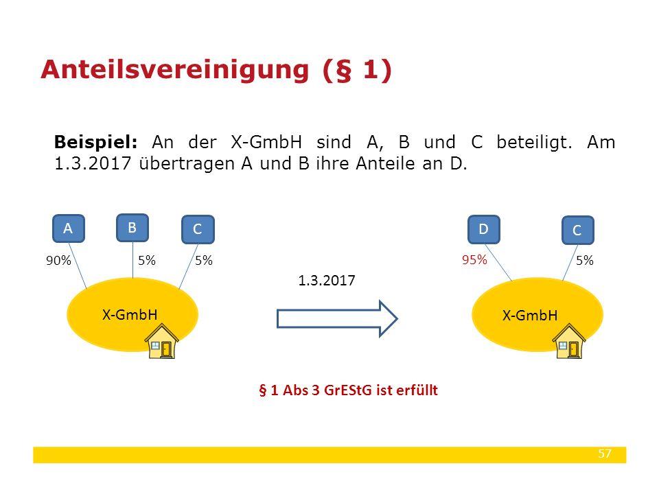 57 Beispiel: An der X-GmbH sind A, B und C beteiligt. Am 1.3.2017 übertragen A und B ihre Anteile an D. Anteilsvereinigung (§ 1) X-GmbH § 1 Abs 3 GrES