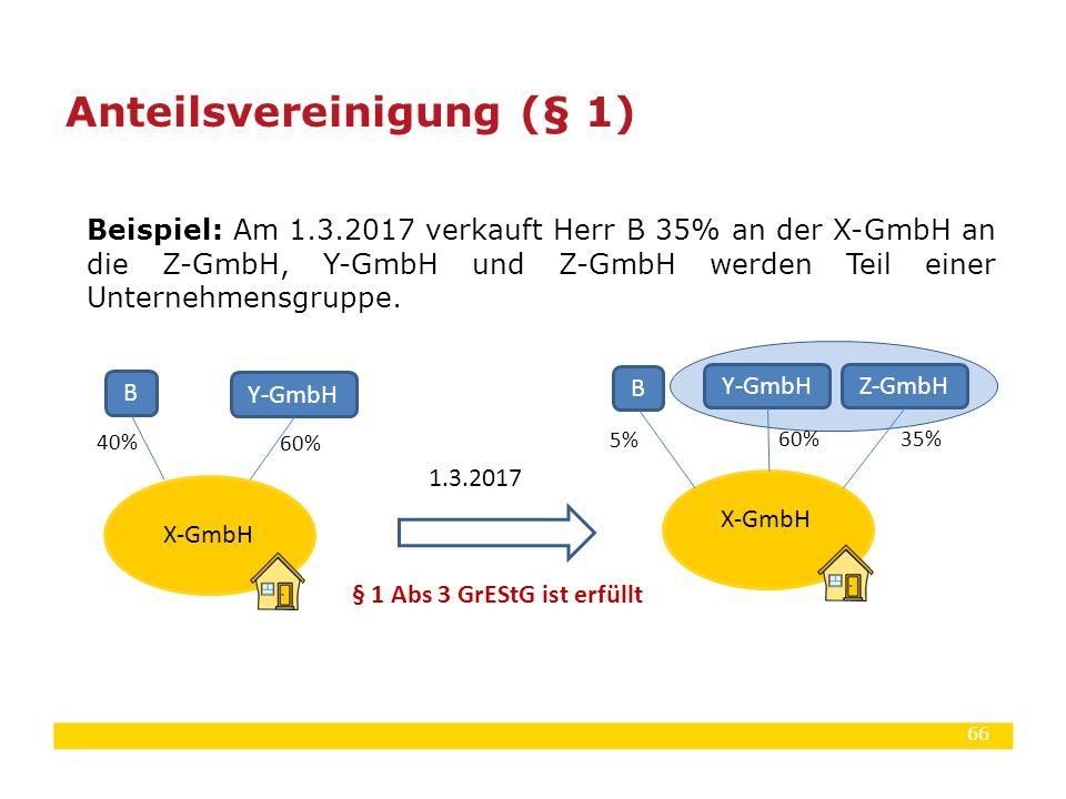 66 Beispiel: Am 1.3.2017 verkauft Herr B 35% an der X-GmbH an die Z-GmbH, Y-GmbH und Z-GmbH werden Teil einer Unternehmensgruppe. Anteilsvereinigung (