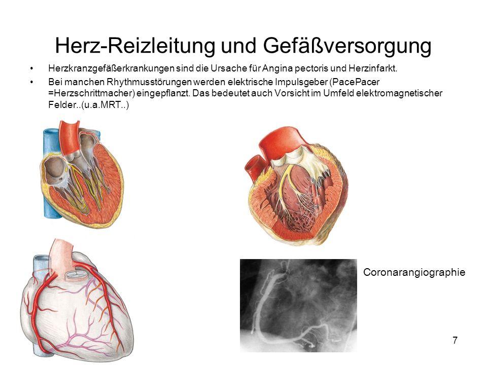 7 Herz-Reizleitung und Gefäßversorgung Herzkranzgefäßerkrankungen sind die Ursache für Angina pectoris und Herzinfarkt. Bei manchen Rhythmusstörungen