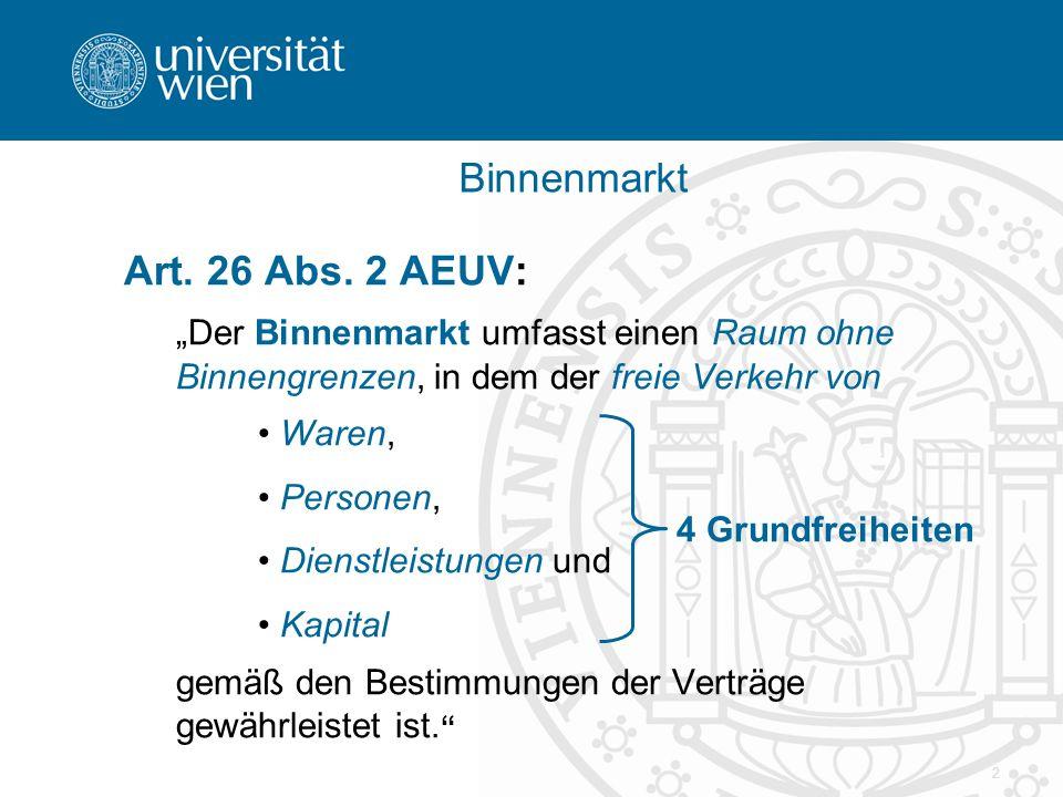 3 Die Grundfreiheiten (1) Freiheit des Warenverkehrs – Art.