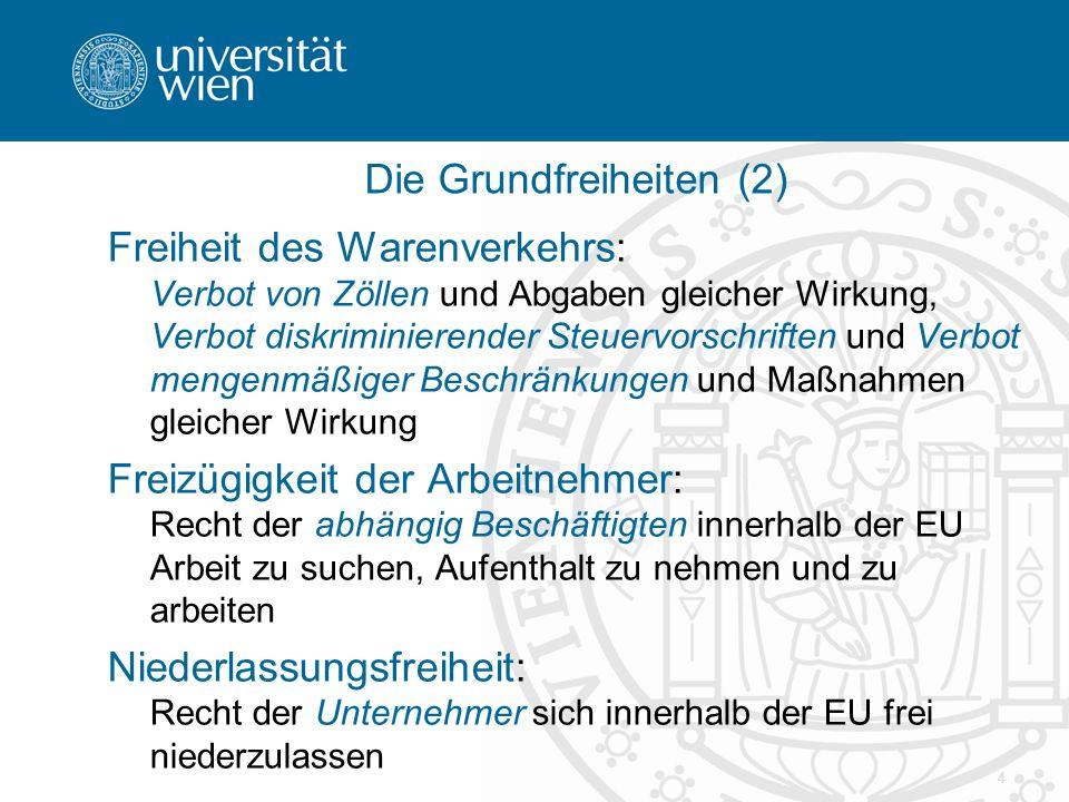 15 Rechtssprechung - Beschränkungsverbote Warenverkehrsfreiheit:  Cassis de Dijon (EuGH Rs.120/78, Slg.1979, 649) Dienstleistungsfreiheit:  Van Binsbergen (EuGH Rs.33/74, Slg.