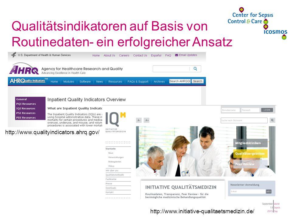 http://www.initiative-qualitaetsmedizin.de/ http://www.qualityindicators.ahrq.gov/ Qualitätsindikatoren auf Basis von Routinedaten- ein erfolgreicher Ansatz