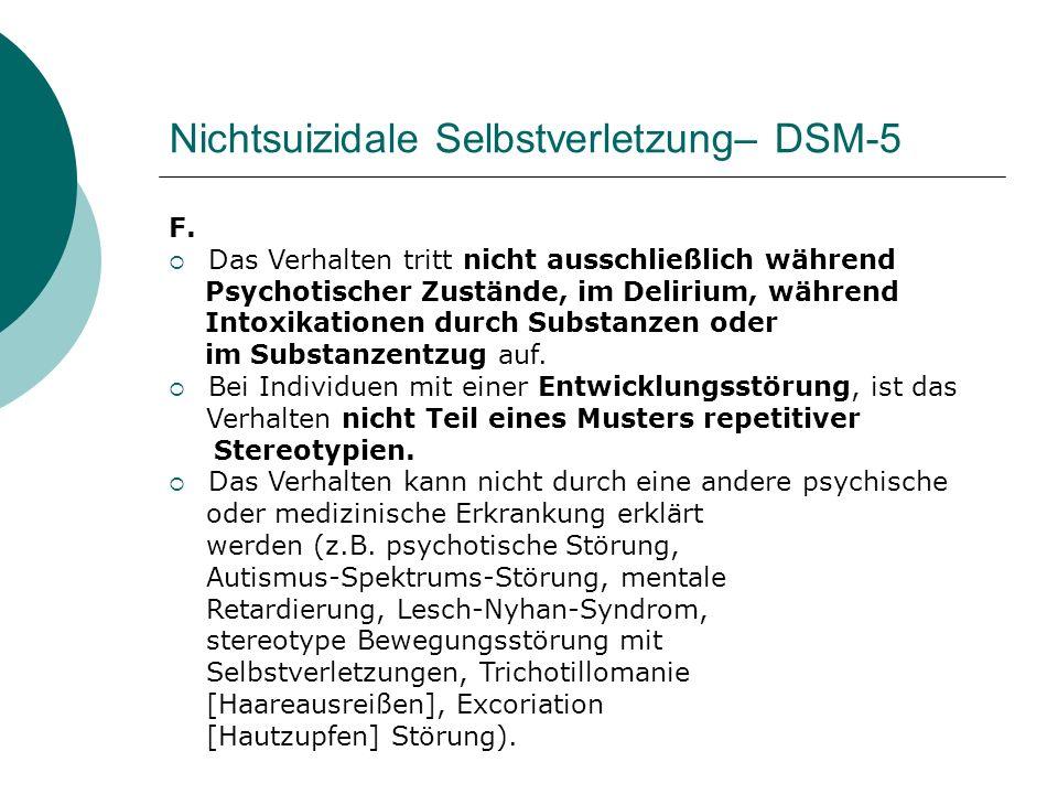Nichtsuizidale Selbstverletzung– DSM-5 F.  Das Verhalten tritt nicht ausschließlich während Psychotischer Zustände, im Delirium, während Intoxikation