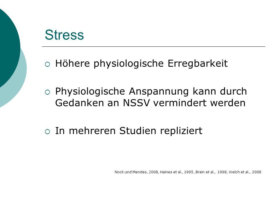 Stress  Höhere physiologische Erregbarkeit  Physiologische Anspannung kann durch Gedanken an NSSV vermindert werden  In mehreren Studien repliziert