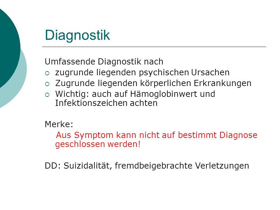 Diagnostik Umfassende Diagnostik nach  zugrunde liegenden psychischen Ursachen  Zugrunde liegenden körperlichen Erkrankungen  Wichtig: auch auf Häm